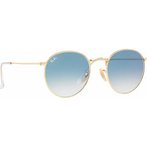 ΓΥΑΛΙΑ ΗΛΙΟΥ Ray-Ban® RB3447N 001/3F 53 ROUND METAL ARISTA / CRYSTAL WHITE GRAD. BLUE